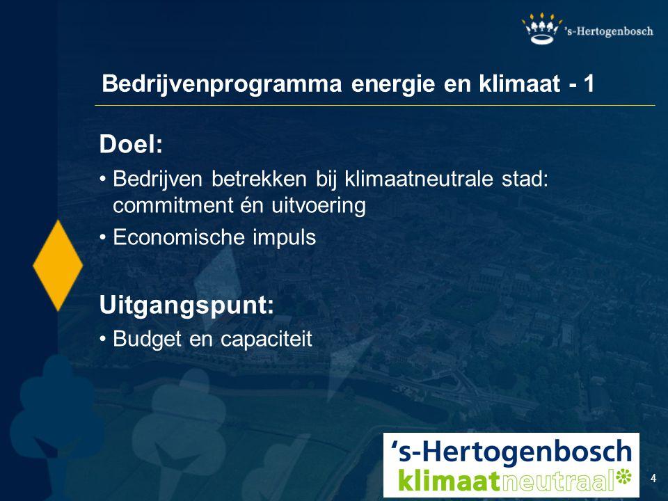 4 Bedrijvenprogramma energie en klimaat - 1 Doel: Bedrijven betrekken bij klimaatneutrale stad: commitment én uitvoering Economische impuls Uitgangspu
