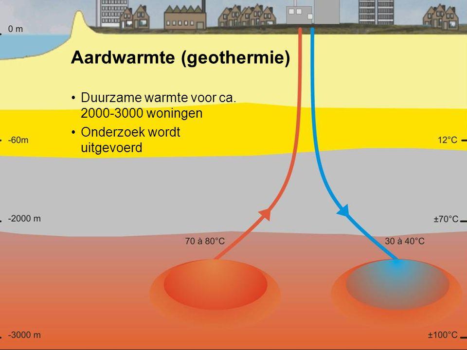 8 Aardwarmte (geothermie) Duurzame warmte voor ca. 2000-3000 woningen Onderzoek wordt uitgevoerd