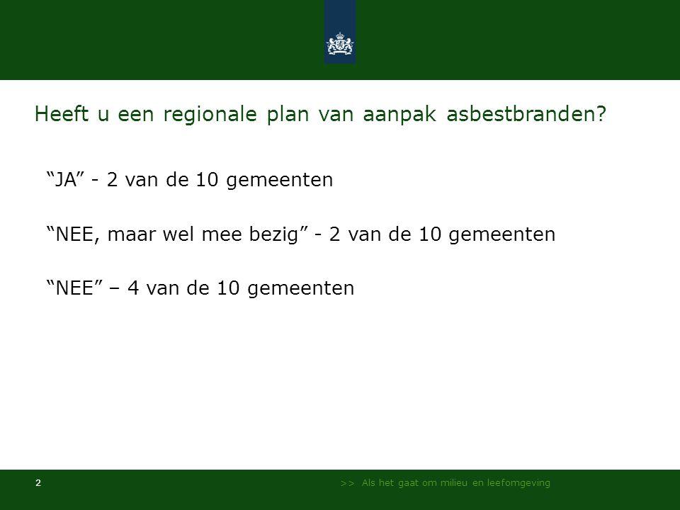 >> Als het gaat om milieu en leefomgeving 2 Heeft u een regionale plan van aanpak asbestbranden.