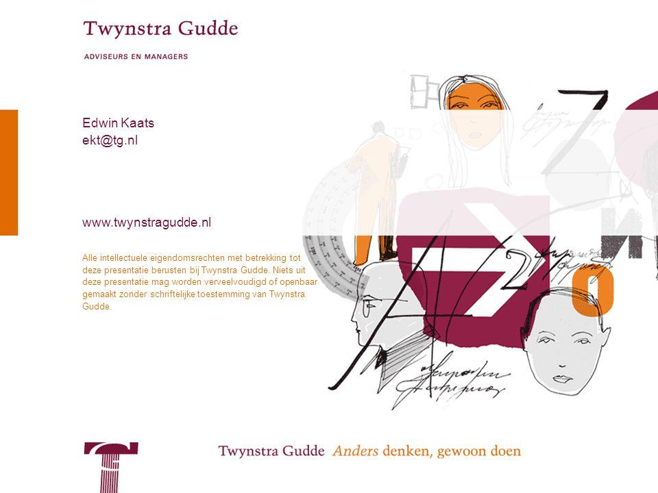 © Twynstra Gudde 7-10-2009 Kansen voor Samenwerken 10 Alle intellectuele eigendomsrechten met betrekking tot deze presentatie berusten bij Twynstra Gudde.
