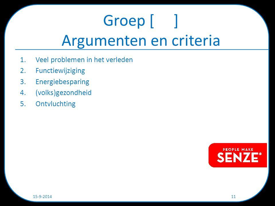 Groep [ ] Argumenten en criteria 1.Veel problemen in het verleden 2.Functiewijziging 3.Energiebesparing 4.(volks)gezondheid 5.Ontvluchting 15-9-2014 11