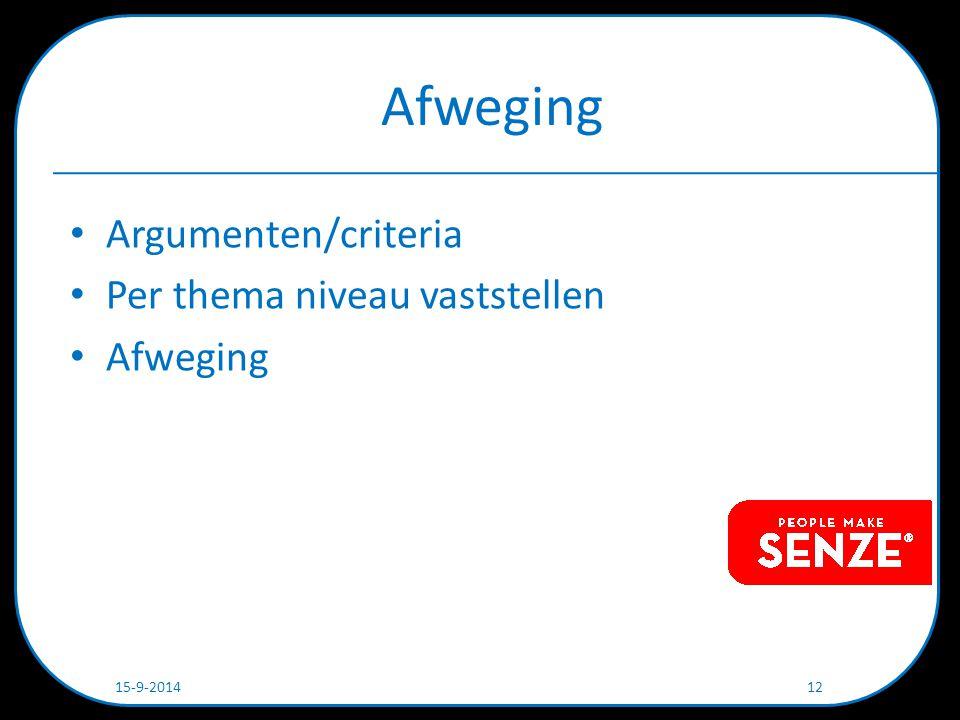 Afweging Argumenten/criteria Per thema niveau vaststellen Afweging 15-9-2014 12