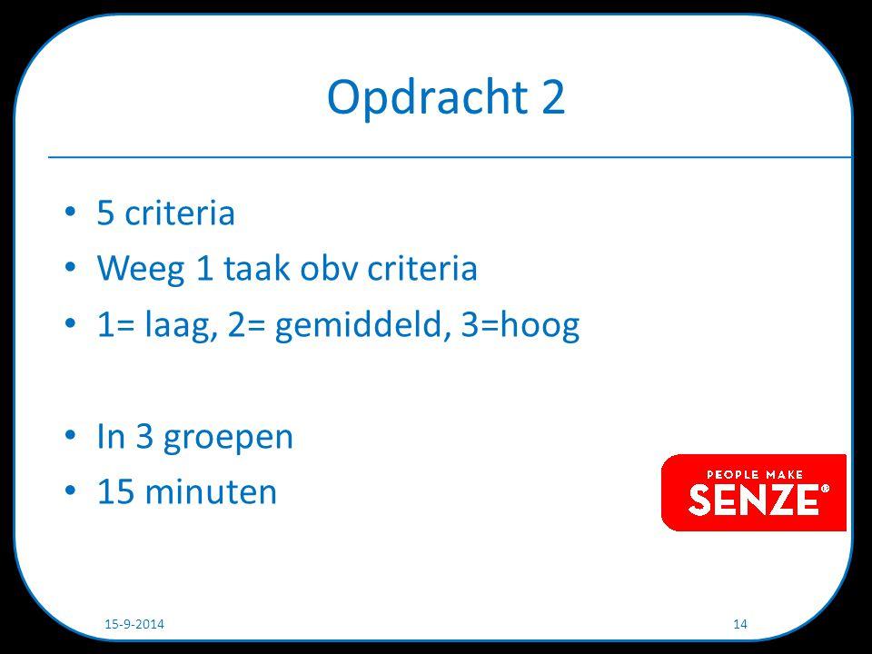 Opdracht 2 5 criteria Weeg 1 taak obv criteria 1= laag, 2= gemiddeld, 3=hoog In 3 groepen 15 minuten 15-9-2014 14
