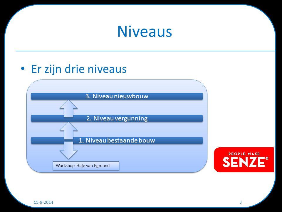Niveaus Er zijn drie niveaus 15-9-2014 3 3. Niveau nieuwbouw 2.