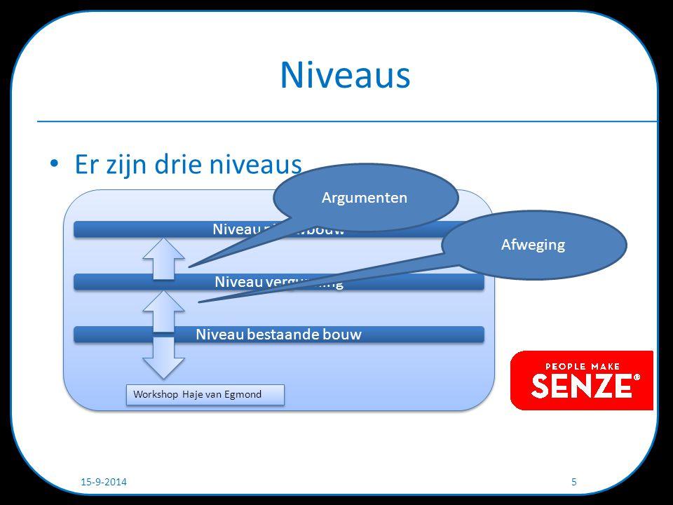 Niveaus Er zijn drie niveaus 15-9-2014 5 Niveau nieuwbouw Niveau vergunning Niveau bestaande bouw Workshop Haje van Egmond Argumenten Afweging