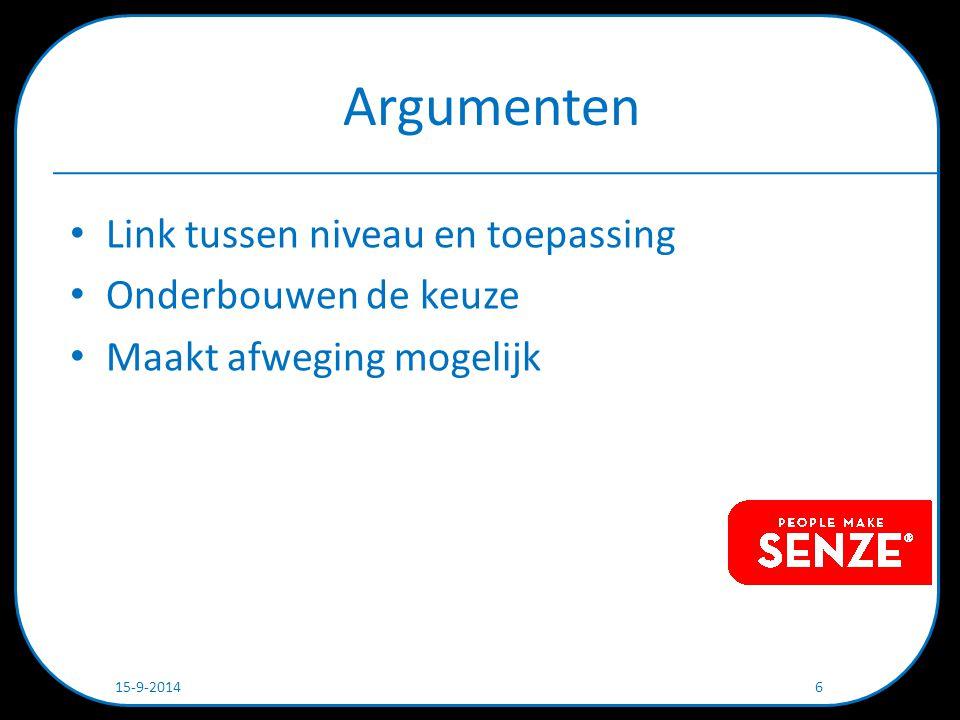 Niveaus Argumenten – Begrijpelijk – Objectief Afweging – Thema's (voorbeeld: BB) – Argumenten – Scores 15-9-2014 7
