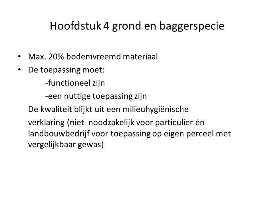 Hoofdstuk 4 grond en baggerspecie Max. 20% bodemvreemd materiaal De toepassing moet: -functioneel zijn -een nuttige toepassing zijn De kwaliteit blijk