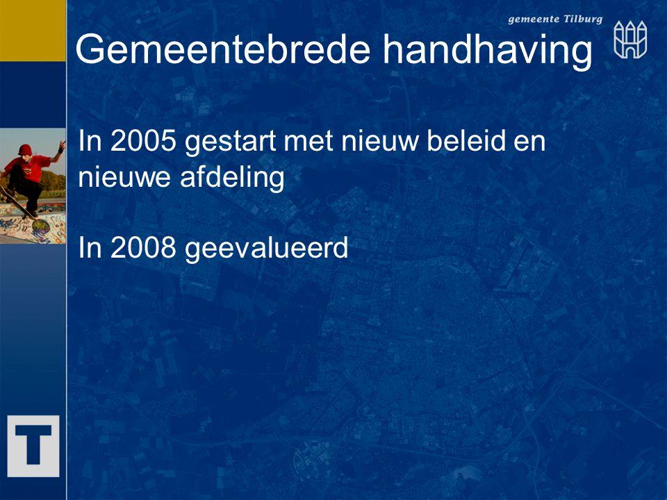 Gemeentebrede handhaving In 2005 gestart met nieuw beleid en nieuwe afdeling In 2008 geevalueerd