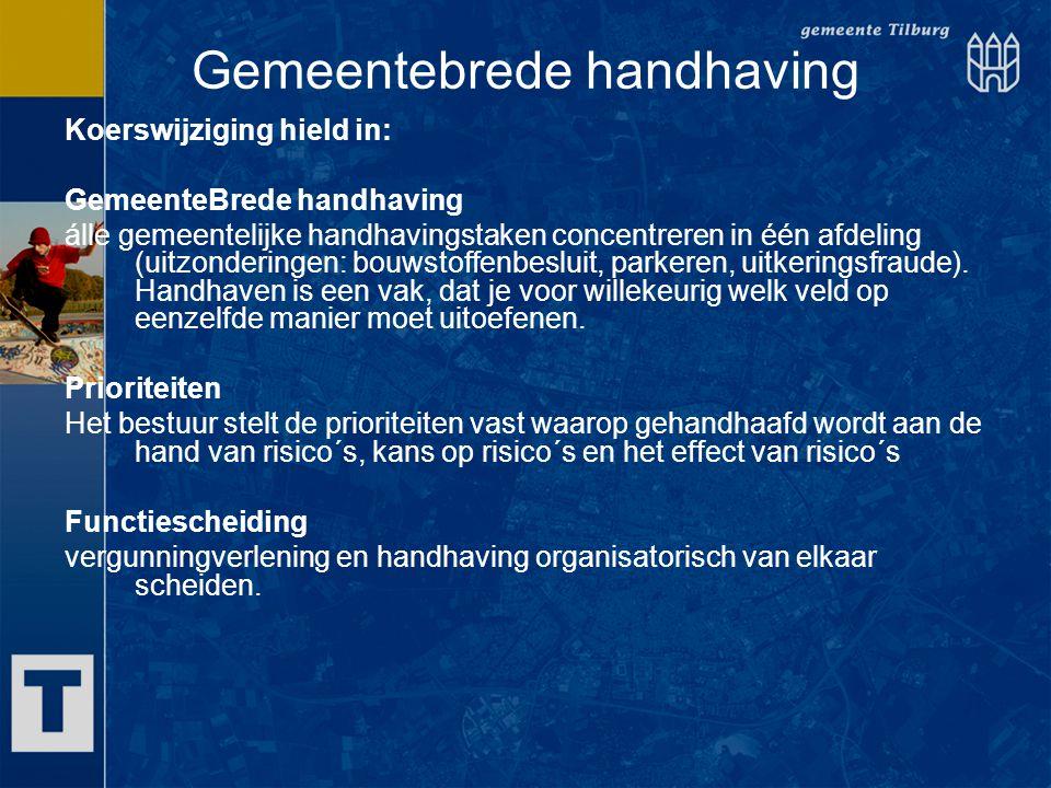Gemeentebrede handhaving Koerswijziging hield in: GemeenteBrede handhaving álle gemeentelijke handhavingstaken concentreren in één afdeling (uitzonder