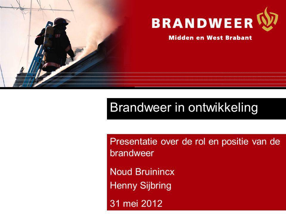 Brandweer in ontwikkeling Presentatie over de rol en positie van de brandweer Noud Bruinincx Henny Sijbring 31 mei 2012
