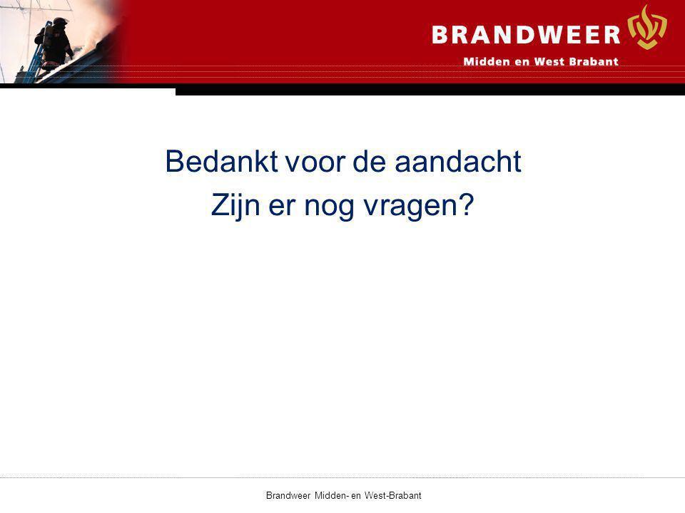 Bedankt voor de aandacht Zijn er nog vragen? Brandweer Midden- en West-Brabant