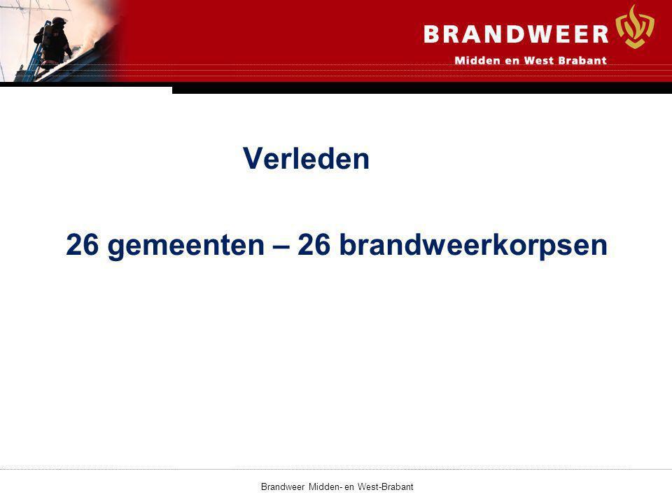 Verleden 26 gemeenten – 26 brandweerkorpsen Brandweer Midden- en West-Brabant