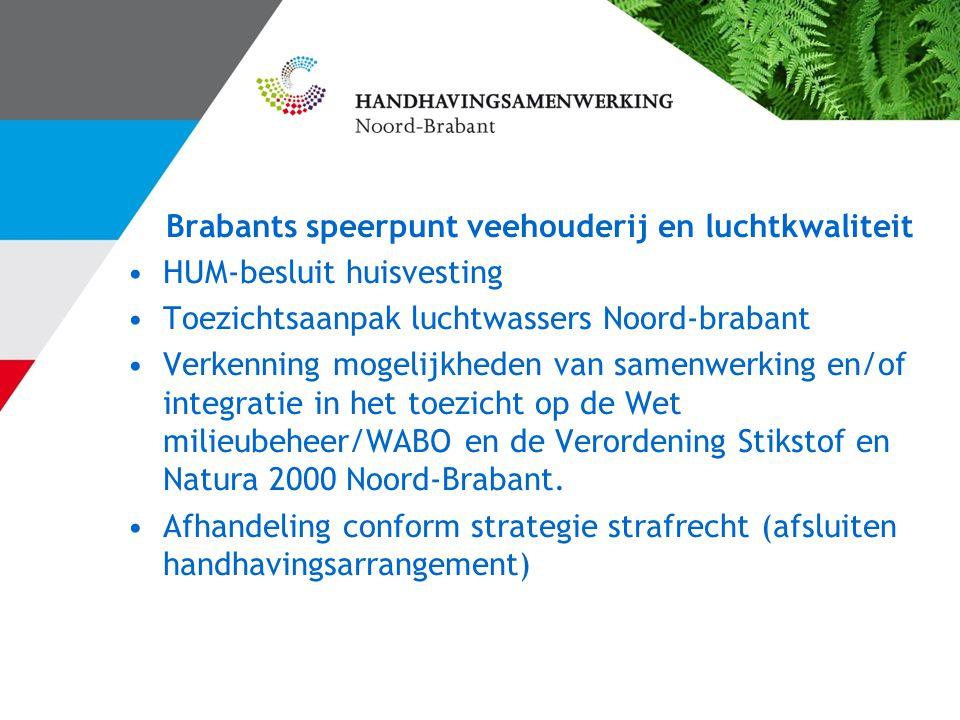 Brabants speerpunt veehouderij en luchtkwaliteit HUM-besluit huisvesting Toezichtsaanpak luchtwassers Noord-brabant Verkenning mogelijkheden van samenwerking en/of integratie in het toezicht op de Wet milieubeheer/WABO en de Verordening Stikstof en Natura 2000 Noord-Brabant.