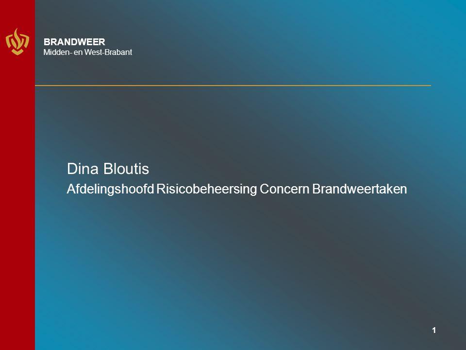 1 BRANDWEER Midden- en West-Brabant Dina Bloutis Afdelingshoofd Risicobeheersing Concern Brandweertaken