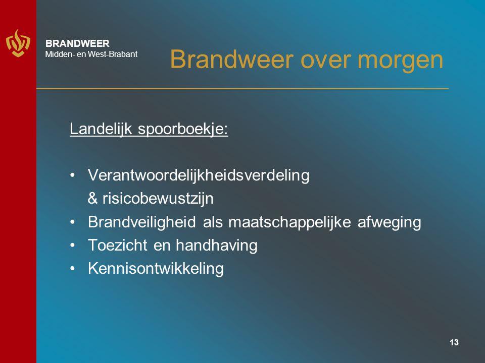 13 BRANDWEER Midden- en West-Brabant Brandweer over morgen Landelijk spoorboekje: Verantwoordelijkheidsverdeling & risicobewustzijn Brandveiligheid als maatschappelijke afweging Toezicht en handhaving Kennisontwikkeling