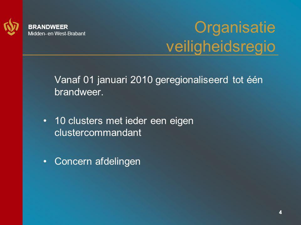 15 BRANDWEER Midden- en West-Brabant Brandweer komende jaren Beleidsplan 2011-2015 Scenario's voor de komende jaren: Ongeval met gevaarlijke stoffen Vitale infrastructuur Overstromingen Dreiging volksgezondheid/ ziektegolf