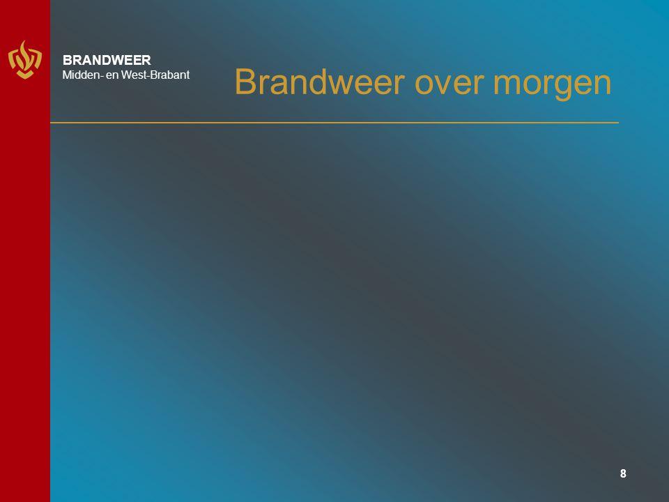 9 BRANDWEER Midden- en West-Brabant Brandweer over morgen Nieuwe trends en ontwikkelingen Verduurzaming Veiligheidsperceptie Technologische ontwikkelingen Netwerksamenleving individualisering