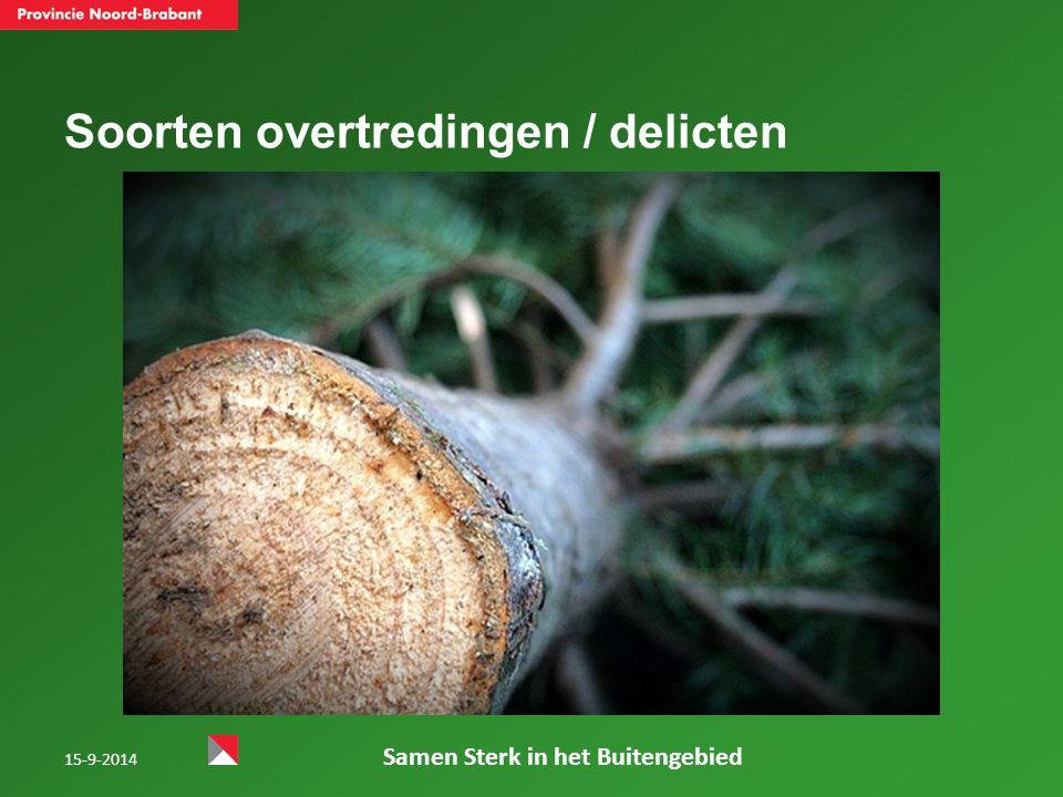 Soorten overtredingen / delicten 15-9-2014 Samen Sterk in het Buitengebied
