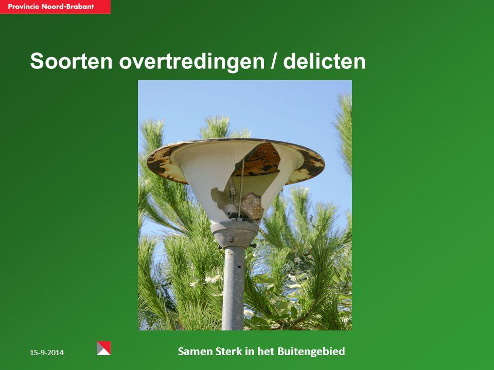 15-9-2014 Samen Sterk in het Buitengebied Soorten overtredingen / delicten