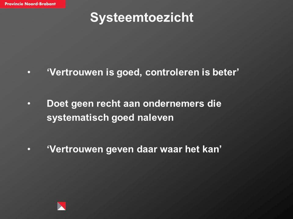 Systeemtoezicht 'Vertrouwen is goed, controleren is beter' Doet geen recht aan ondernemers die systematisch goed naleven 'Vertrouwen geven daar waar h