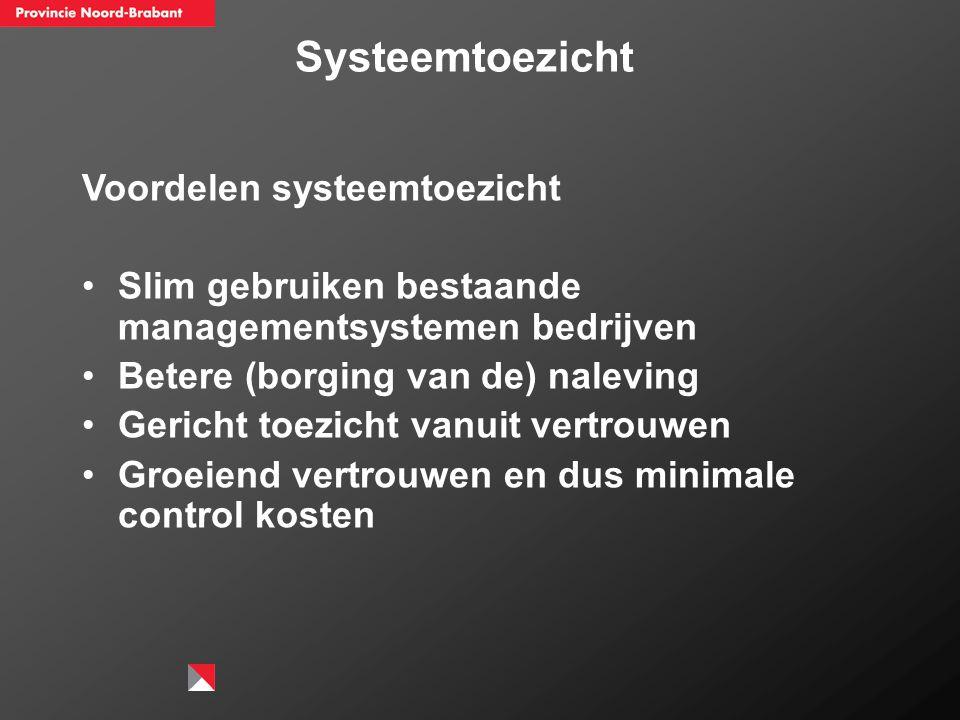 Voordelen systeemtoezicht Slim gebruiken bestaande managementsystemen bedrijven Betere (borging van de) naleving Gericht toezicht vanuit vertrouwen Gr