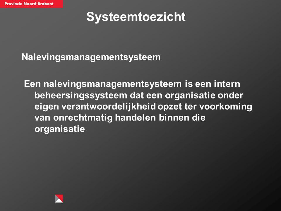 Nalevingsmanagementsysteem Een nalevingsmanagementsysteem is een intern beheersingssysteem dat een organisatie onder eigen verantwoordelijkheid opzet