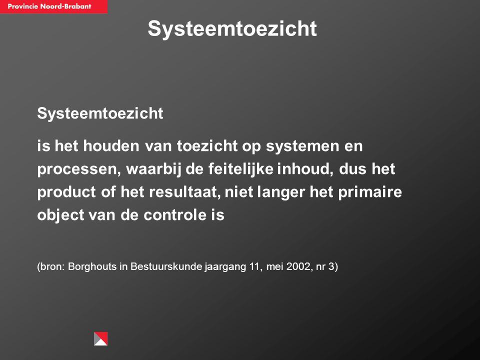 Systeemtoezicht is het houden van toezicht op systemen en processen, waarbij de feitelijke inhoud, dus het product of het resultaat, niet langer het p