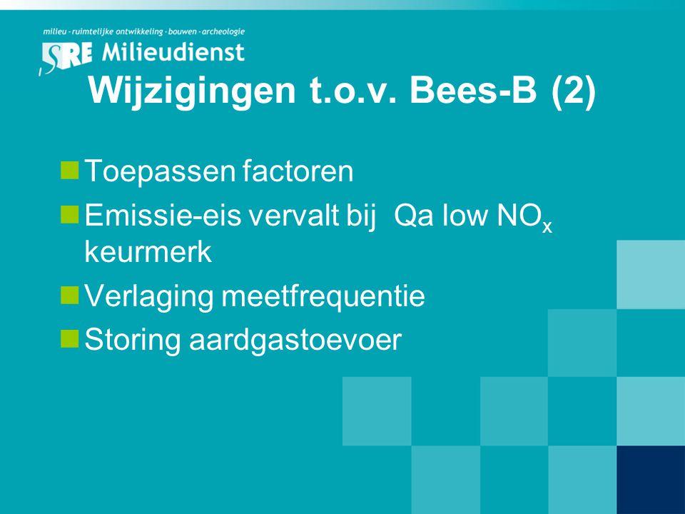 Wijzigingen t.o.v. Bees-B (2) Toepassen factoren Emissie-eis vervalt bij Qa low NO x keurmerk Verlaging meetfrequentie Storing aardgastoevoer
