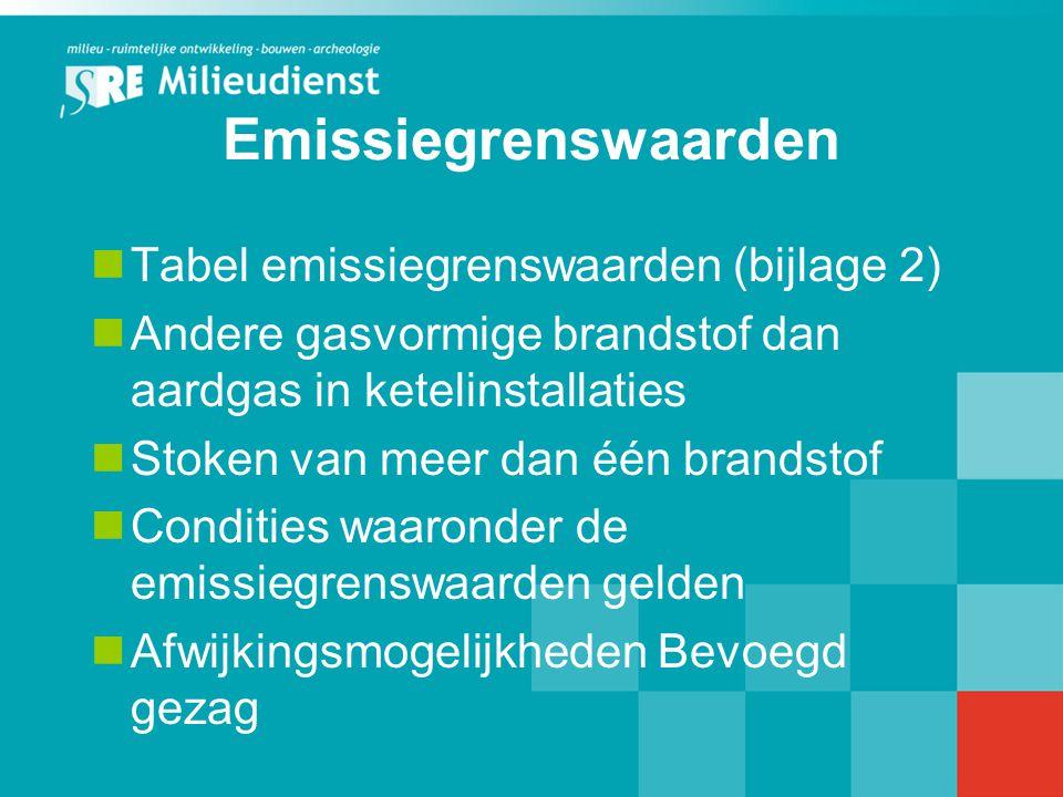 Emissiegrenswaarden Tabel emissiegrenswaarden (bijlage 2) Andere gasvormige brandstof dan aardgas in ketelinstallaties Stoken van meer dan één brandst
