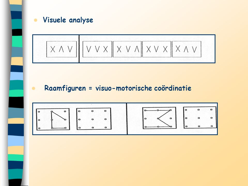 Visuele analyse Raamfiguren = visuo-motorische coördinatie