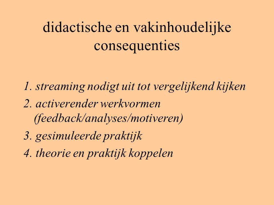 didactische en vakinhoudelijke consequenties 1. streaming nodigt uit tot vergelijkend kijken 2. activerender werkvormen (feedback/analyses/motiveren)