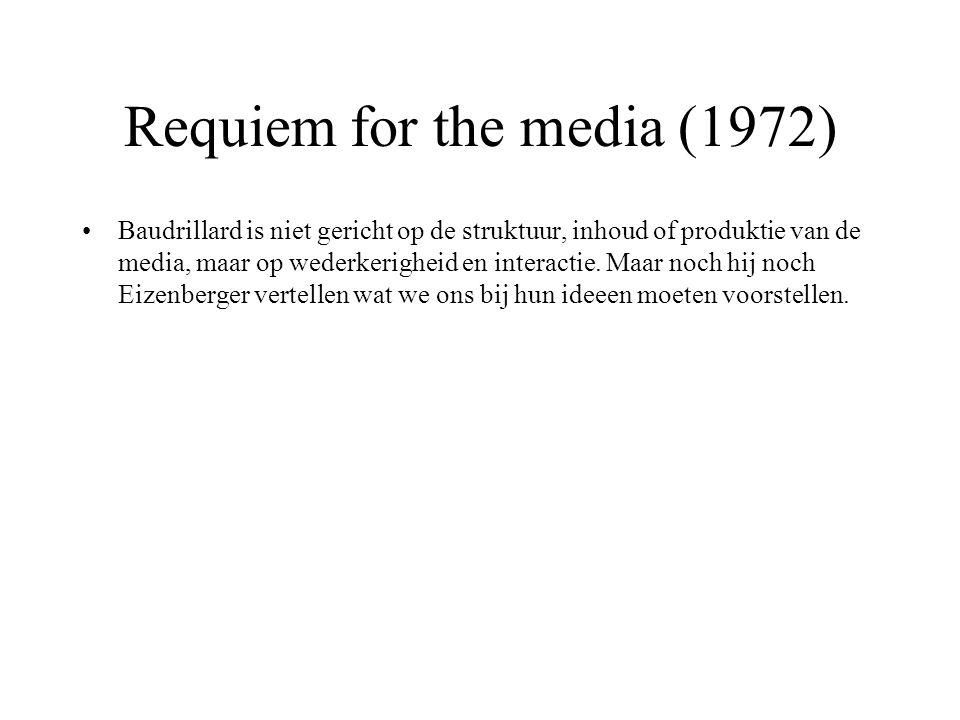 Requiem for the media (1972) Baudrillard is niet gericht op de struktuur, inhoud of produktie van de media, maar op wederkerigheid en interactie. Maar