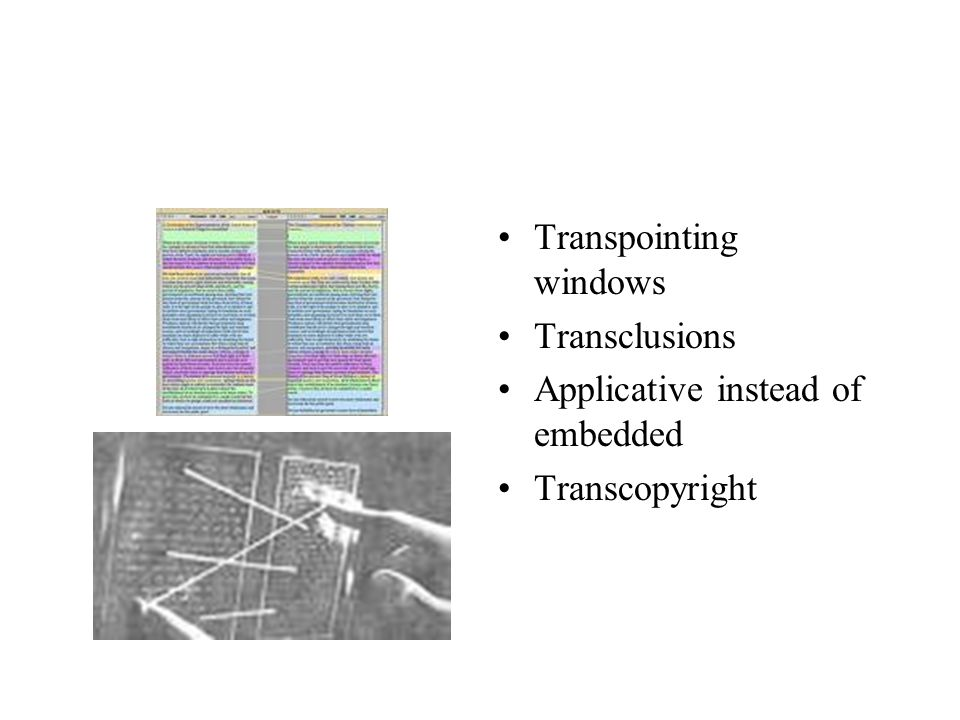 Transpointing windows Transclusions Applicative instead of embedded Transcopyright