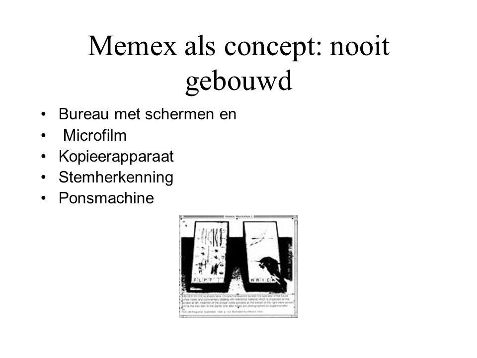 Memex als concept: nooit gebouwd Bureau met schermen en Microfilm Kopieerapparaat Stemherkenning Ponsmachine