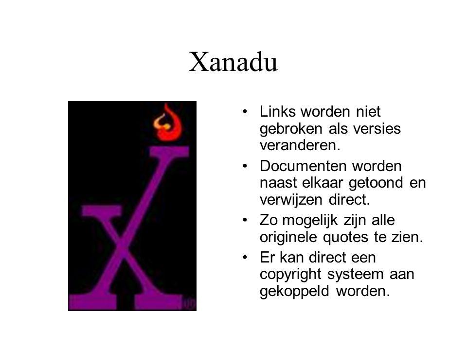 Xanadu Links worden niet gebroken als versies veranderen.