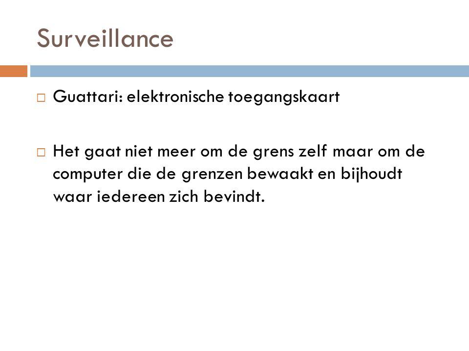 Surveillance  Guattari: elektronische toegangskaart  Het gaat niet meer om de grens zelf maar om de computer die de grenzen bewaakt en bijhoudt waar iedereen zich bevindt.