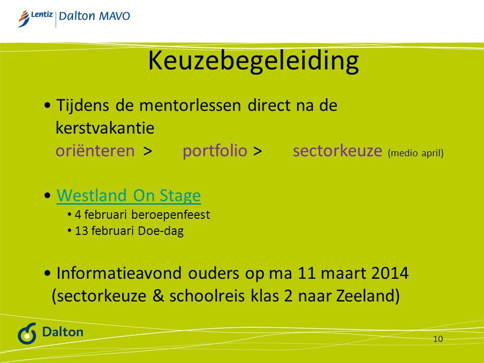 Keuzebegeleiding 10 Tijdens de mentorlessen direct na de kerstvakantie oriënteren > portfolio > sectorkeuze (medio april) Westland On Stage 4 februari