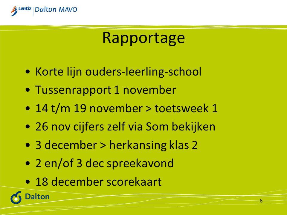 Rapportage Korte lijn ouders-leerling-school Tussenrapport 1 november 14 t/m 19 november > toetsweek 1 26 nov cijfers zelf via Som bekijken 3 december