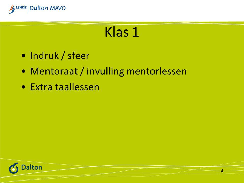 Klas 1 Indruk / sfeer Mentoraat / invulling mentorlessen Extra taallessen 4
