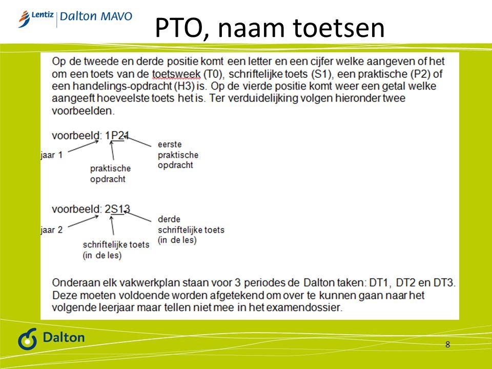 8 PTO, naam toetsen