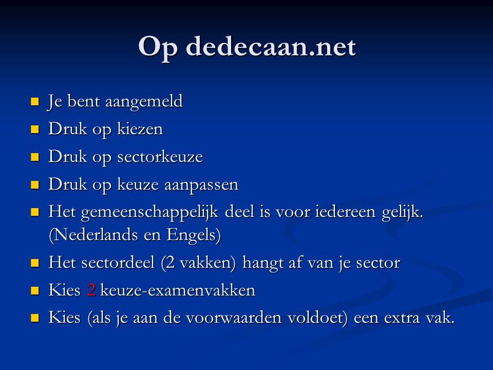 Op dedecaan.net Je bent aangemeld Je bent aangemeld Druk op kiezen Druk op kiezen Druk op sectorkeuze Druk op sectorkeuze Druk op keuze aanpassen Druk op keuze aanpassen Het gemeenschappelijk deel is voor iedereen gelijk.