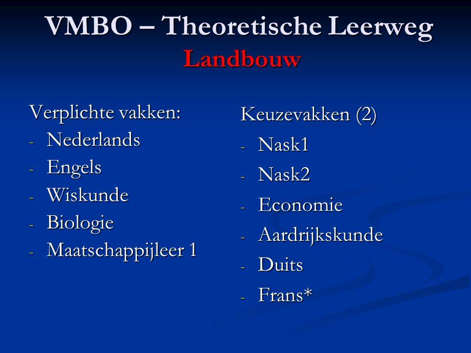 VMBO – Theoretische Leerweg Landbouw Verplichte vakken: - Nederlands - Engels - Wiskunde - Biologie - Maatschappijleer 1 Keuzevakken (2) - Nask1 - Nask2 - Economie - Aardrijkskunde - Duits - Frans*