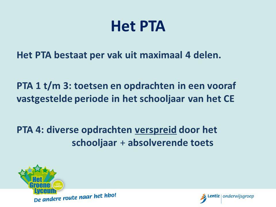 Het PTA Het PTA bestaat per vak uit maximaal 4 delen. PTA 1 t/m 3: toetsen en opdrachten in een vooraf vastgestelde periode in het schooljaar van het
