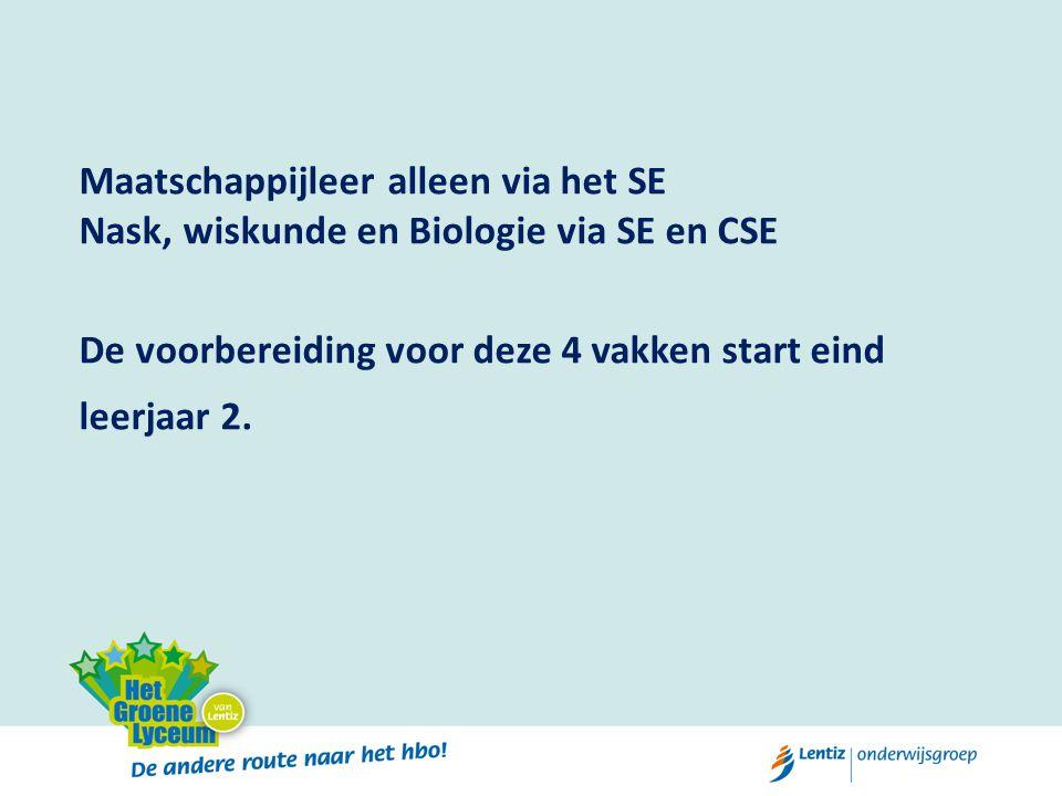 Maatschappijleer alleen via het SE Nask, wiskunde en Biologie via SE en CSE De voorbereiding voor deze 4 vakken start eind leerjaar 2.