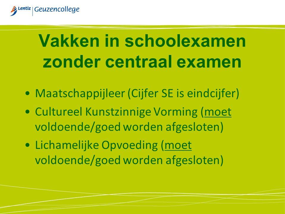 Vakken in schoolexamen zonder centraal examen Maatschappijleer (Cijfer SE is eindcijfer) Cultureel Kunstzinnige Vorming (moet voldoende/goed worden af