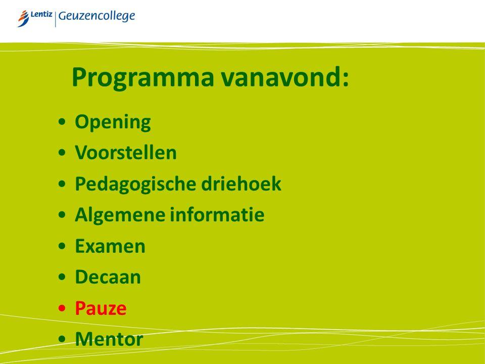 Opening Voorstellen Pedagogische driehoek Algemene informatie Examen Decaan Pauze Mentor Programma vanavond: