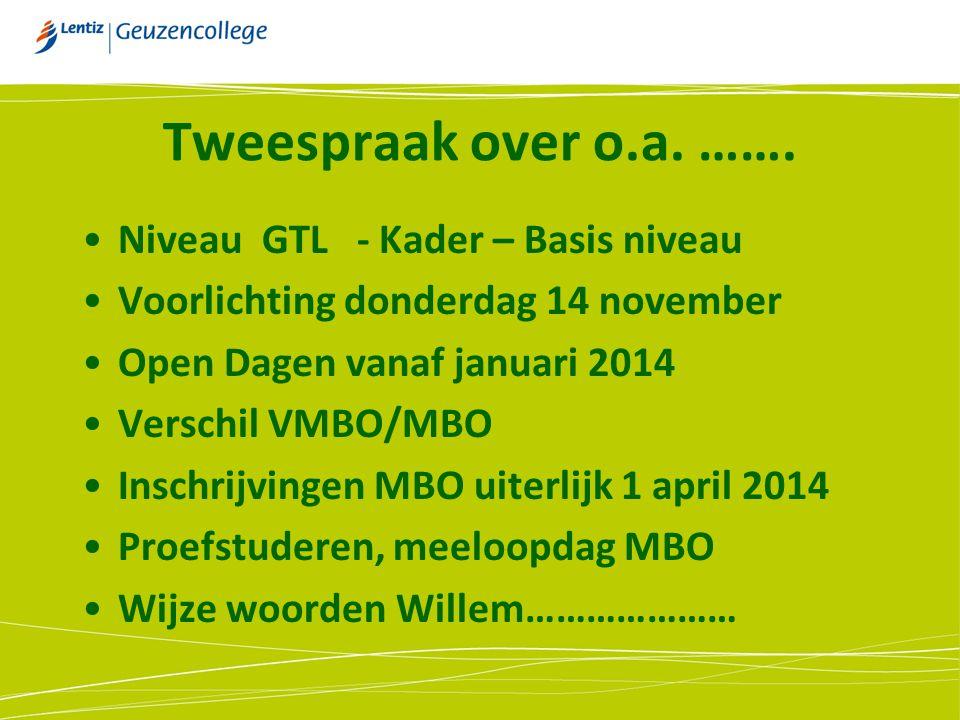 Tweespraak over o.a. ……. Niveau GTL - Kader – Basis niveau Voorlichting donderdag 14 november Open Dagen vanaf januari 2014 Verschil VMBO/MBO Inschrij
