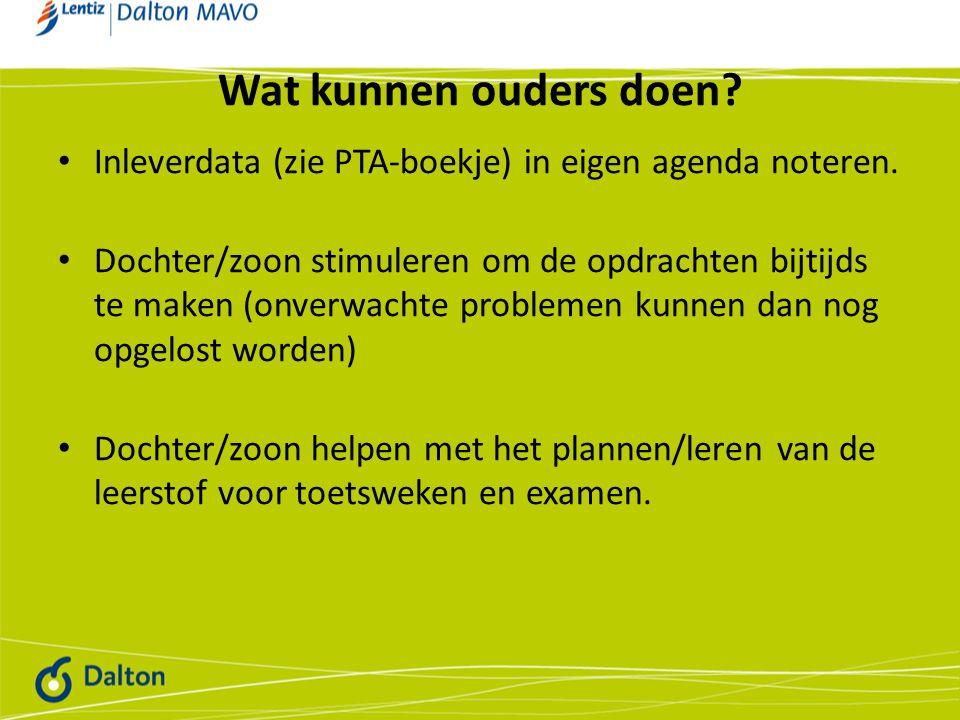 Wat kunnen ouders doen? Inleverdata (zie PTA-boekje) in eigen agenda noteren. Dochter/zoon stimuleren om de opdrachten bijtijds te maken (onverwachte