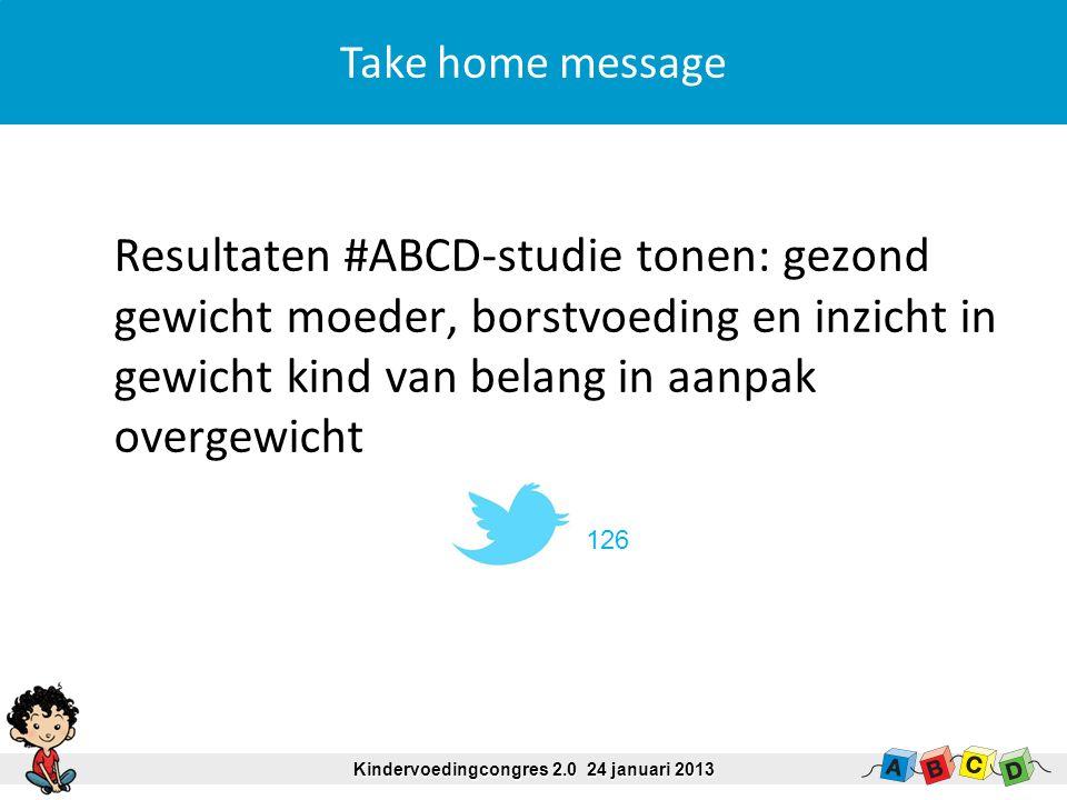 Systolische bloeddruk (mmHg) Volledig borstvoeding < 1 mnd (referentie)99.9 1-3 mnd99.3 3-6 mnd98.5 > 6 mnd98.4 * Introductie bijvoeding < 4 mnd100.7 * 4-6 mnd99.6 * > 6 mnd (referentie)98.5 * Na correctie voor confounders significant Voedingspatroon en bloeddruk Kindervoedingcongres 2.0 24 januari 2013 M de Beer et al., submitted