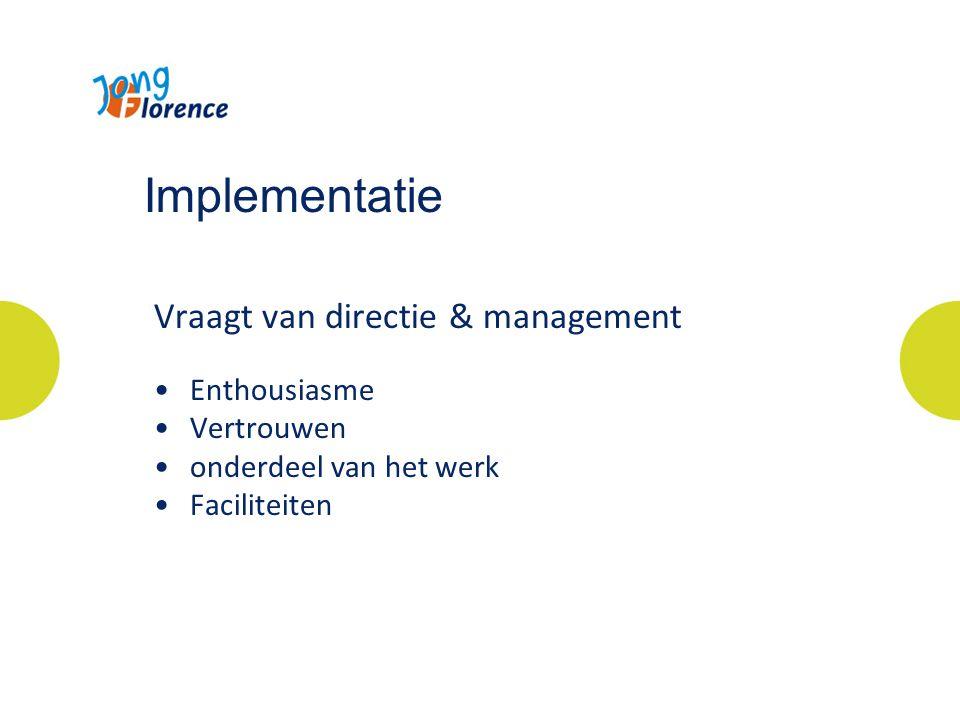 Implementatie Vraagt van directie & management Enthousiasme Vertrouwen onderdeel van het werk Faciliteiten